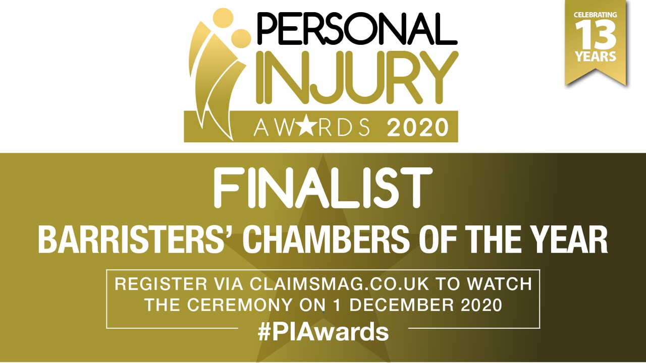 Chambers are delighted to be shortlisted for Barristers Chambers of the Year at the Personal Injury Awards 2020