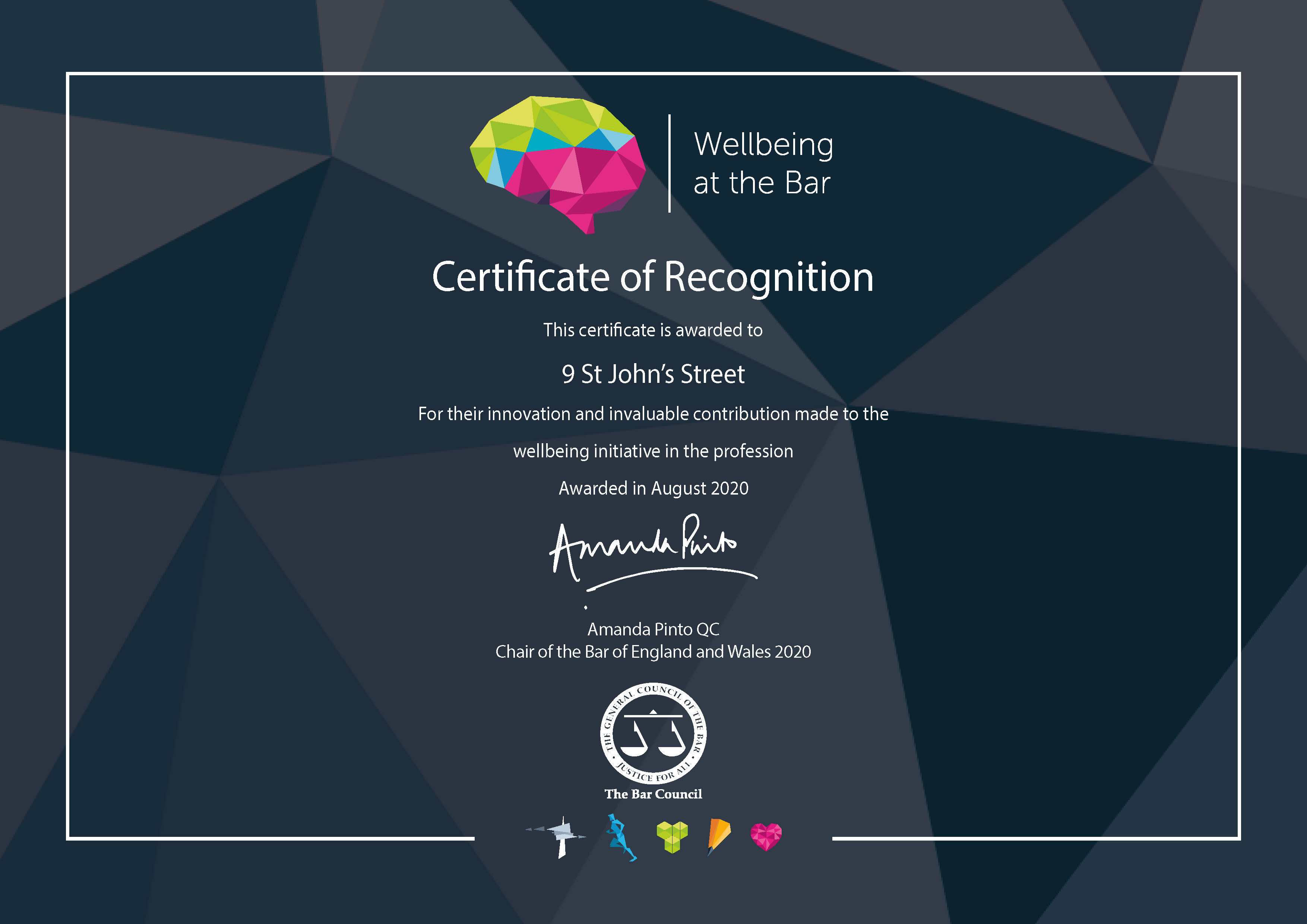9 St John Street awarded a Well Being Certificate of Recognition